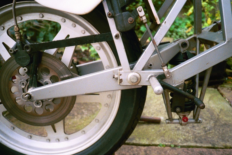Right side view of rear suspension and stub swingarm